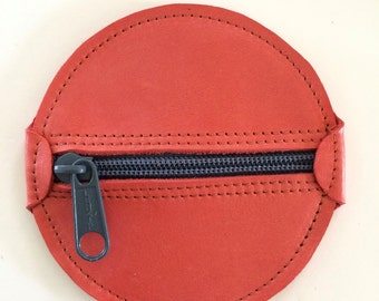 Leather Change Purse Round Zippered