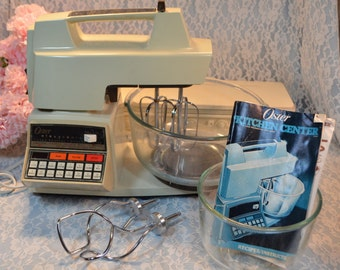 Vintage Oster Mixer Electronic Touch Control Kitchen Center, Mid Century Kitchen, Instruction Booklet, Dough Hooks, Accessories Available