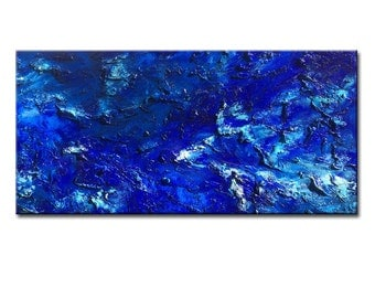 Original Textured BLUE Abstract Painting, Contemporary Modern fine art by Henry Parsinia Large 48x24