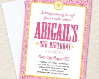 Pink Country Western Party Invitations - Professionally printed *or* DIY printable