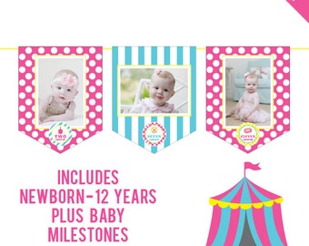INSTANT DOWNLOAD Pink Carnival DIY printable photo banner kit - Includes Newborn through 12 Years, Plus Baby Milestones