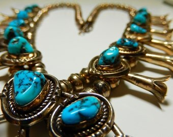 Navajo Kee Cook Sterling Silver and Turquoise Squash Blossom Necklace
