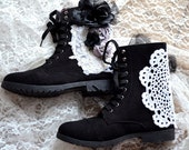 Retro 90's combat boots, bohemian grunge embellished boots, Street chic women's winter black combat boots, Granny boots True rebel clothing