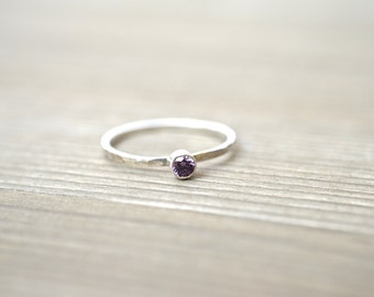 Personalized Birthstone Stacking Ring - Sterling Silver or Gold Filled Ring