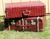 Vintage Suitcase Faux Alligator Leather & Handle