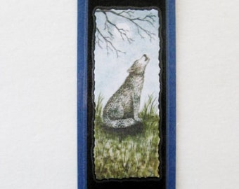 Bookmark Wolf -  Hand made from artist Original Watercolor Print - Wild - Laminated