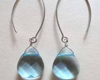 Aqua Swarovski earrings, Swarovski crystal earrings, long Swarovski earrings, Swarovski  briolette long earrings Bali leaf earrings handmade