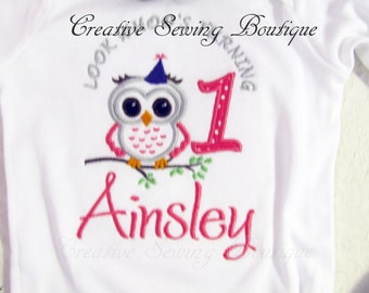 Birthday bodysuit 1st birthday owl bodysuit one piece / bodysuit and hairbow hairband choice of size and name