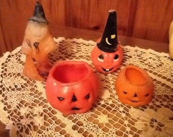 Gurley Halloween Candles Witch & Pumpkins Vintage 1950's Decorations