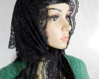 "BLACK LACE Triangle SCARF 45"" x 20"""