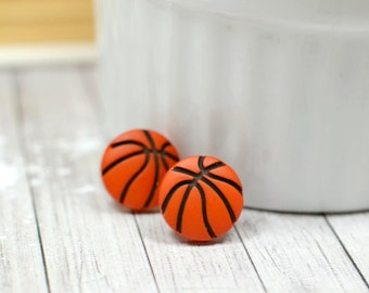 Basketball Earrings / Orange and Black Basketball Jewelry / Sports Themed Stud Earrings, Ball Earrings, Basketball Wives Earrings