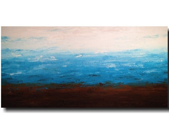Original Abstract Large painting - 24 X 48  JMJartstudio- Feeling Blue-Wall art-wall decor - Blue painting-Oil painting