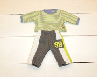 Grey Sweat Pants and Striped Tshirt - 14 - 15 inch boy doll clothes