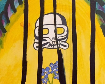 Original Acrylic Painting Of A Skull And Forget-Me-Not Flowers On Canvas, 16x20 Inches