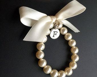 Bridesmaid  initial charm bracelet, personalized  bracelet,  custom made bridesmaid bracelet with any ribbon color