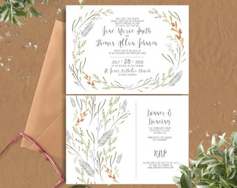 Foliage Wreath Wedding Invitations - printable wedding invitations (200)