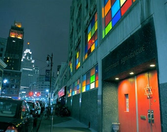 Night City Lights Downtown Detroit Photography Buildings Architecture Colored Windows Street Lights Urban Film Noir Photography Photo Print