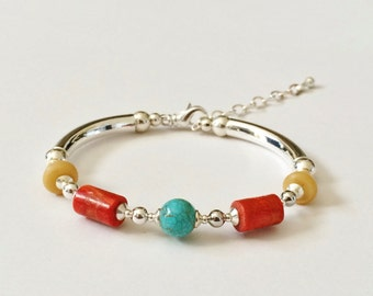 Turquoise, Red Coral, Yellow Calcite Silver Tube Bracelet Bangle Geometric Shapes