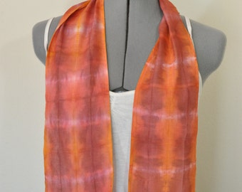 """Red Yellow Cotton Linen SCARF - Garnet Gold Hand Dyed Tie Dye Hand Made Linen Cotton Scarf #158 - 5 x 46"""""""