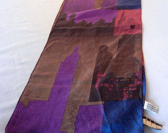 Silk Scarf, New York Skyline Skyscraper Print, New York Studio, Purple Gray Blue, Oblong Rectangular