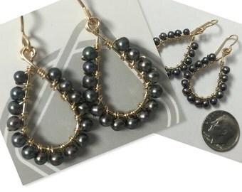 Black freshwater pearl wrapped earrings
