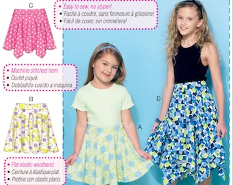 Learn to Sew a Girls' Skirt Pattern, Girls' Easy Skirt Pattern, Girls' Knit Skirt Pattern, McCall's Sewing Pattern 7345