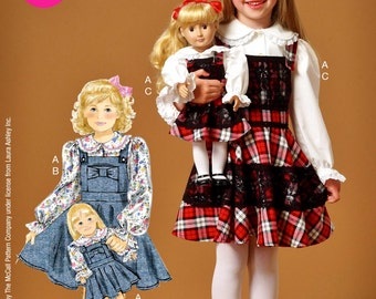 Dolly and Me Jumper Pattern, Little Girls' Jumper and Blouse Pattern, 18 inch Doll Jumper Pattern, McCall's Sewing Pattern 7010