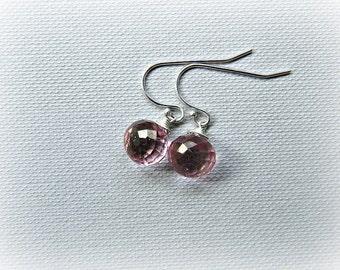 Pink mystic quartz earrings, gemstone earrings, pink silver earrings, petite pink earrings, pink mystic sterling silver earrings, pink drops