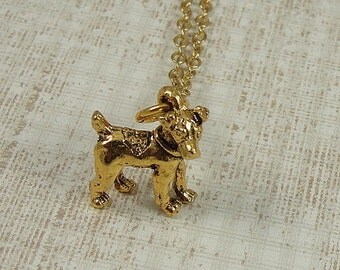 Jack Russell Terrier Necklace, Gold Jack Russell Charm on a Gold Cable Chain
