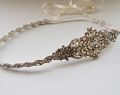 Kate Extended Side Version Wedding bridal headpiece crystal headband headpiece satin ribbon rhinestome headband side