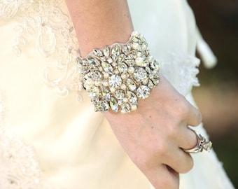 Slava Wedding Bridal Rhinestones Beaded Crystal Bracelet Cuff with Ribbon Closure