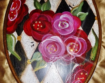 """MacKenzie Childs Inspired / Harlequin ~Toilet Seat w Roses and Metal hinges hardware ~ 18"""" Elongated Seat /  MADE to ORDER"""
