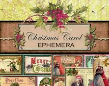 """Digital Christmas Papers """"Dickens Christmas Carol - Ephemera"""