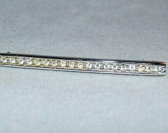 Large Rhinestone Brooch, Swarovski Signed S.A.L.,  Clear Crystal Designer, Vintage old jewelry