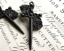 Rose dagger, (2) 40mm Gothic rosary cross pendants from Bad Girl Castings, antiqued black pewter, dark ages, Medieval weapon, Love tattoo