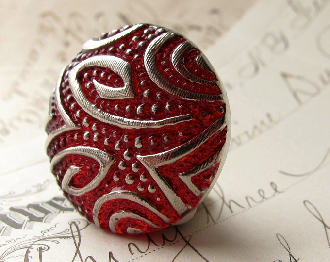 27mm round swirls, scarlet red, deep red, blood red, Czech glass shankless button, hand painted, hand forged, flat back cabochon