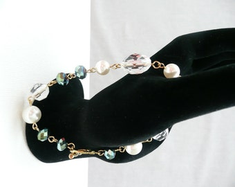 nbc-Clear, Teal, and White Pearl Chain Bracelet with Clasp