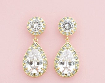 Gold Bridal Earrings Wedding Jewelry Cubic Zirconia Teardrop Earrings Gold Wedding Earrings Crystal Bridal Jewelry, Ena