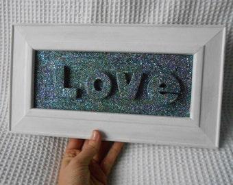 Glittered Love Framed Art Piece