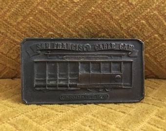 San Francisco Cable Car Belt Buckle, 1976 Bergamot Brass Works Souvenir Belt Buckle, Powell Mason Sts