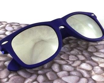 vintage 90s deadstock sunglasses wayfarer matte grape purple plastic frame sun glasses eyewear fashion unisex simple classic mirror lens 49