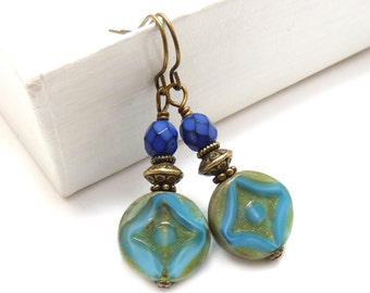 Blue Boho Dangle Earrings - Cornflower Blue & Cobalt - Gold Washed Picasso Czech Glass Coin Beads - Periwinkle Blue Earrings