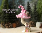 The Enchanted Woodland Mushroom Fairy House - Bubble Gum Pink Capped Woodland Fae House with Pearl Spots, Fairy Door & Flowering Window Box