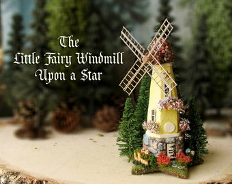 Enchanted Fairy Windmill Upon a Star - Miniature N Scale Dutch Style Windmill with Colorful Tiled Roof, Flower Boxes, Wildflowers and More