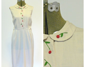 peter pan collar dress // Lingonberry Dress // 1940s linen dress // Vintage Lampl dress