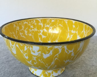 Vintage Yellow enamelware splatterware bowl with black rim