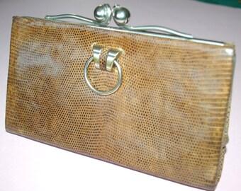 Vintage Art Deco lizard skin and chrome purse