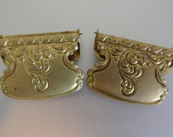 Cute Vintage Stamped Brass Scarf Clips