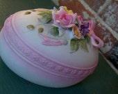 Lefton Porcelain Egg ceramic trinket box Lefton Egg Lefton porclain box Floral Trim Two-Piece Egg