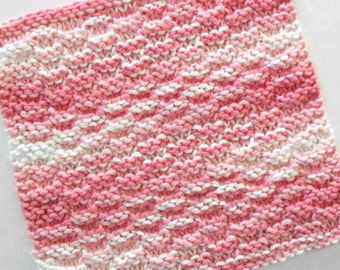 Pink Dishcloth, Cotton Hand Knit Dishcloth, Pink Kitchen Decor